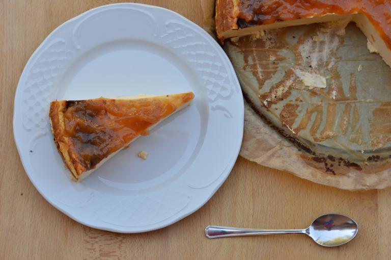 Tarta de queso del restaurante La Viña con sirope de ágave